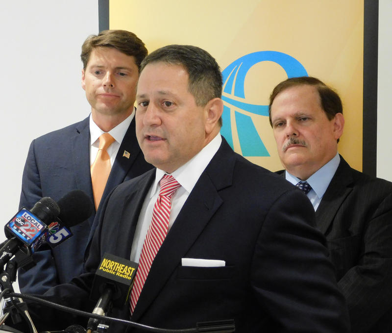 Assembly Majority Leader Joe Morelle with Franklin County Legislature Chair Billy Jones (left) and North Country Chamber CEO Garry Douglas (right)