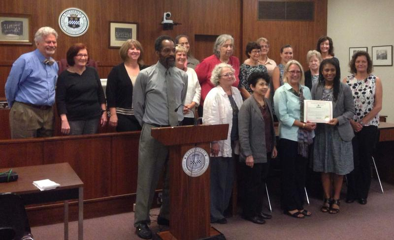 Older workers and regional employment workers celebrate the proclamation at Pittsfield City Hall on Monday.