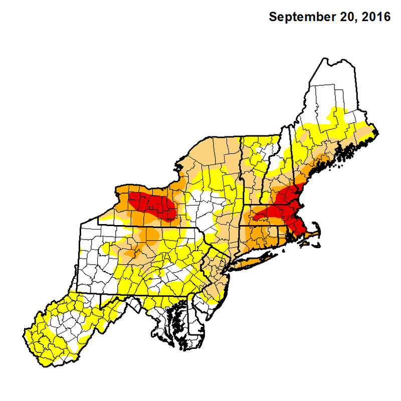The U.S. Drought Monitor map of the Northeast from Sept. 20.
