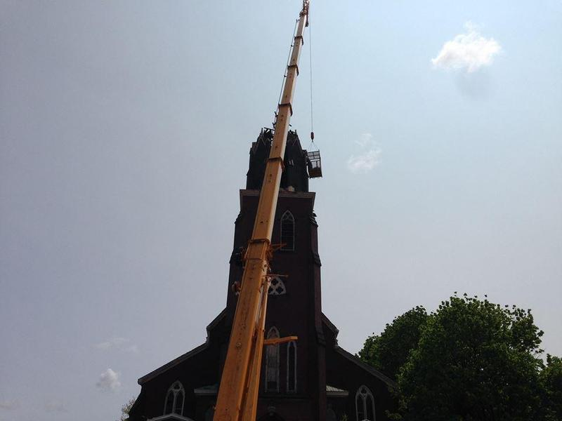 Emergency demolition of St. Francis' steeple in May 2016.