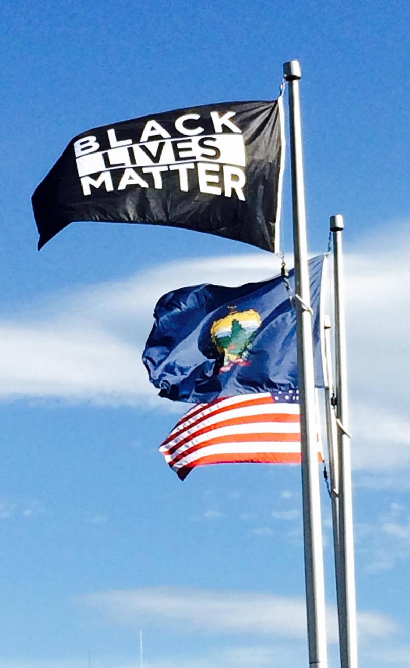 Black Lives Matter Flag flies at student center at the University of Vermont