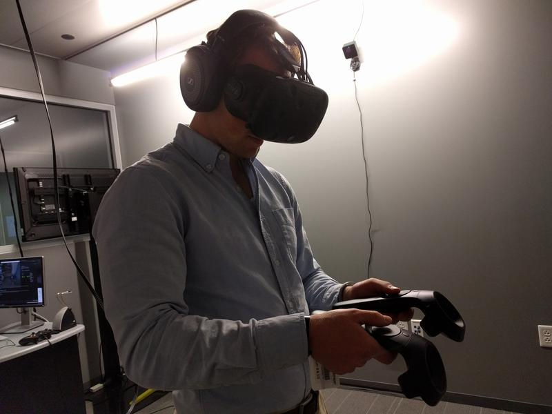 WAMC's Jim Levulis trying out the VR experience.