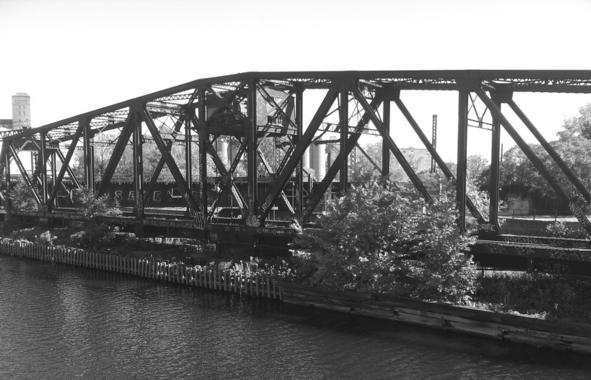 The railway bridge at Rue Wellington, across the Lachine Canal skirting Griffintown