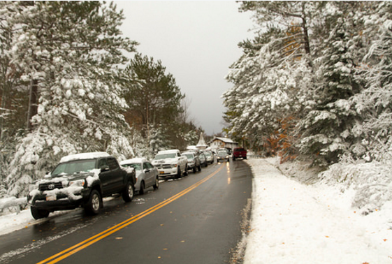The first snow over the weekend at Whiteface.