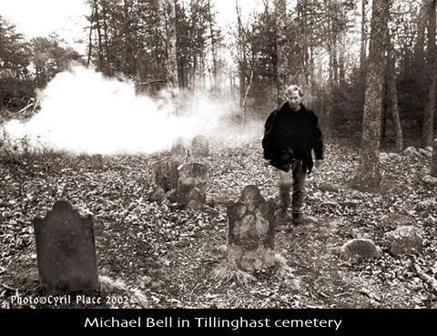Michael Bell, investigating Tillinghast cemetery in Exeter, RI.