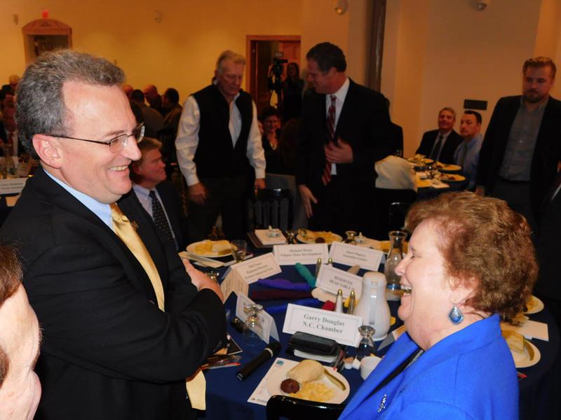 Warren Boley (left) with Assemblywoman Janet Duprey