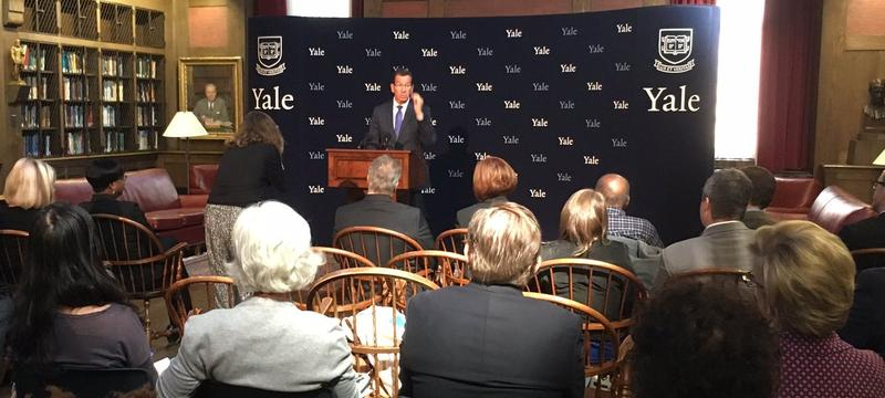 Connecticut Governor Dannel Malloy addresses the plan at Yale University School of Medicine Thursday.