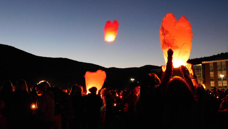 Lanterns released during Harwood Union High School vigil