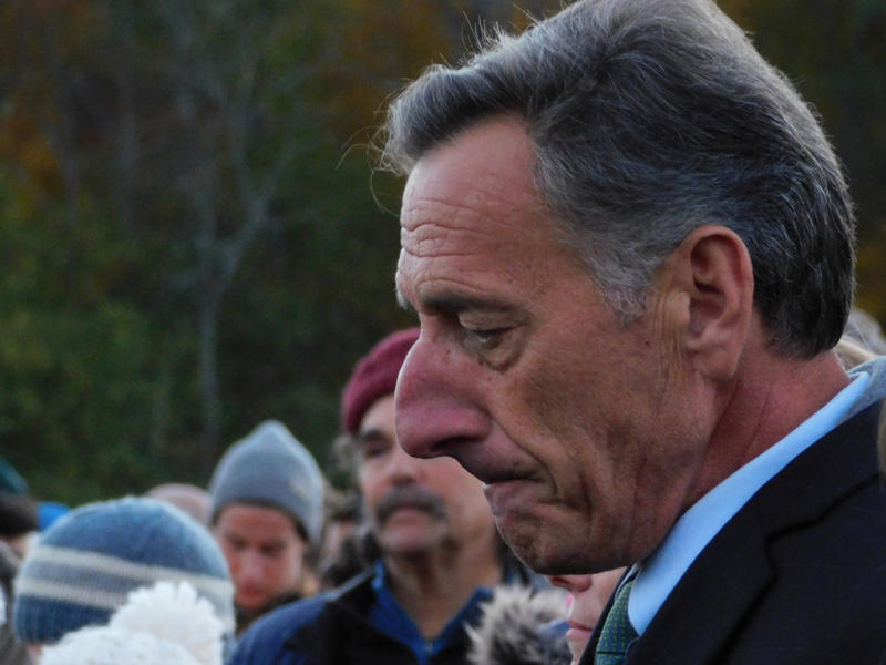 Vermont Governor Peter Shumlin attends vigil at Harwood Union High School