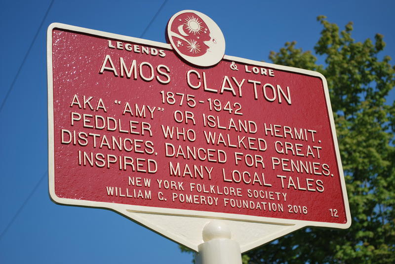 Marker for the legend of Amos Clayton in Schoharie county.