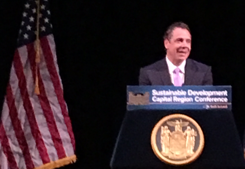 Governor Andrew Cuomo spoke at the Capital Region Sustainable Development Conference in Schenectady.
