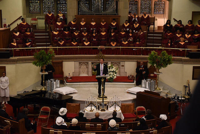 New York Governor Andrew Cuomo announces steps to combat post -election increased incidents of discrimination in New York at a speech at the Abyssinian Baptist Church in New York City Sunday.