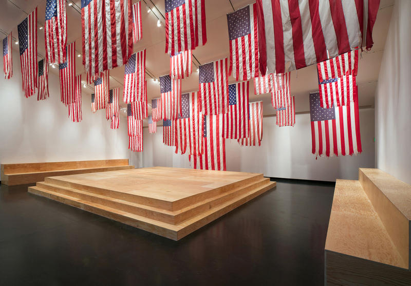 Installation View - A More Perfect Union with Mel Ziegler's Flag Exchange, Tang Teaching Museum 2016
