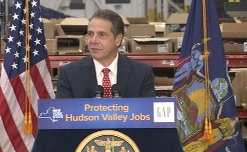New York Governor Andrew Cuomo speaks at GAP, Inc. in Fishkill