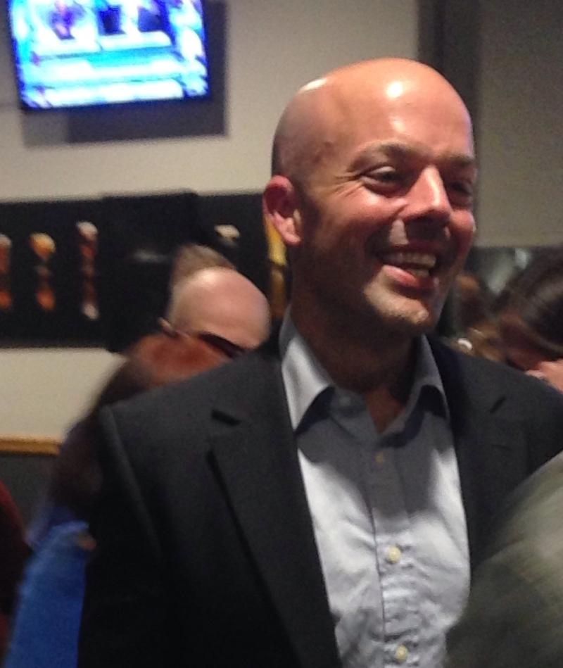 Adam Hinds celebrates his election to the Massachusetts State Senate Tuesday night in Pittsfield.