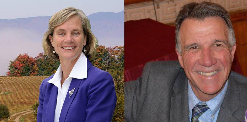 Democrat Sue Minter (left) and Republican Phil Scott
