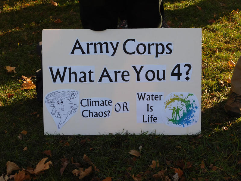 Sign at Standing Rock rally in Essex Junction, VT