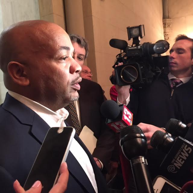 New York Assembly Speaker Carl Heastie speaking to reporters this afternoon, following a private meeting with Assembly Democrats.