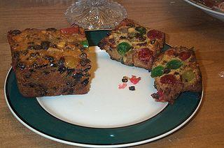 A slice of American fruitcake