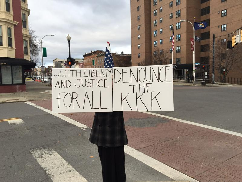 Activist with anti-KKK message in downtown Albany, December 2016