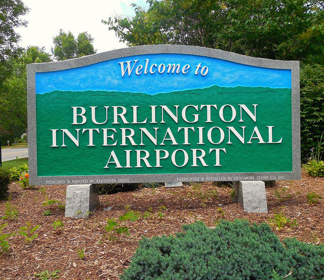 Burlington International Airport sign