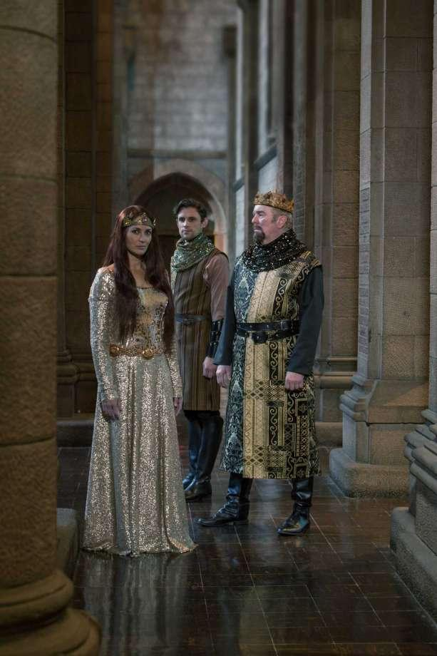 Camelot Leenya Rideout as Guineviere, Oliver Thornton as Lancelot, and Kevin McGuire as King Arthur