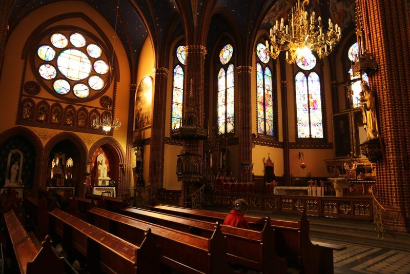 Inside St. Joseph's Catholic Church in Bellevue, Iowa, a town formed in 1837 along the Mississippi and one of the oldest communities in the state.