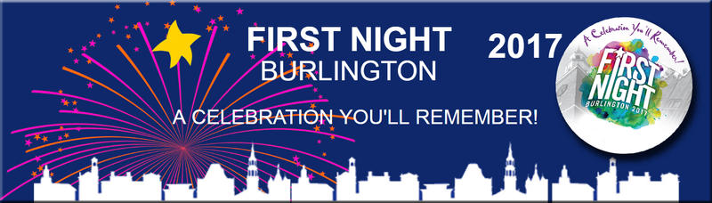 First Night Burlington Banner and Button