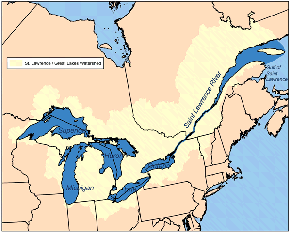 St. Lawrence River-Great Lakes watershed map