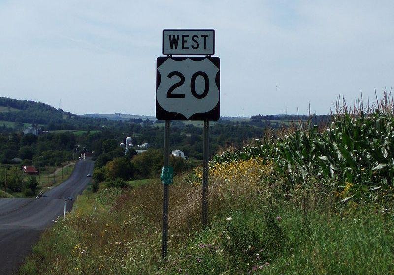 U.S. Route 20 marker in Oneida County, NY