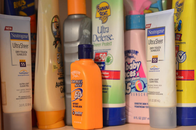 A picture of various kinds of sunscreen
