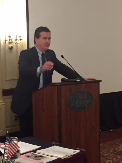 New York State Senate Leader John Flanagan addresses a group of county clerks outside Albany on Monday