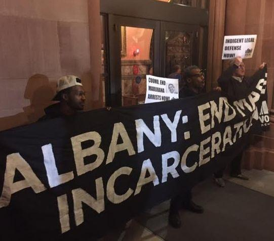 Protesters at the New York State Capitol Tuesday