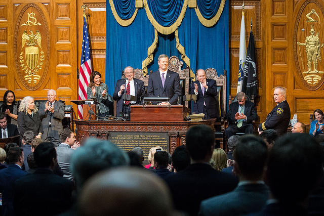 Massachusetts Governor Charlie Baker delivers his 2017 State of the Commonwealth address.