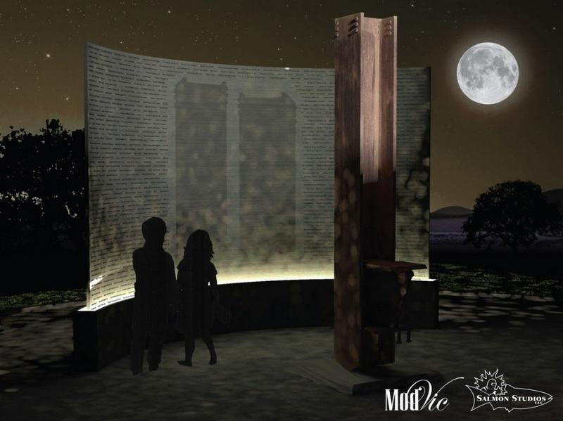 A rendering shows the view at night of the 9/11 memorial planned in Riverfront Park in Springfield, Ma.