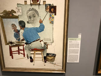 "photo of the Norman Rockwell painting, ""Triple Self-Portrait"""