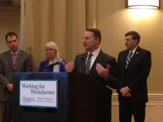 Westchester County Executive Rob Astorino at the podium, Cortlandt Town Supervisor Linda Puglisi and Superintendent Joseph Hochreiter to his left, Westchester Legislator John Testa, right
