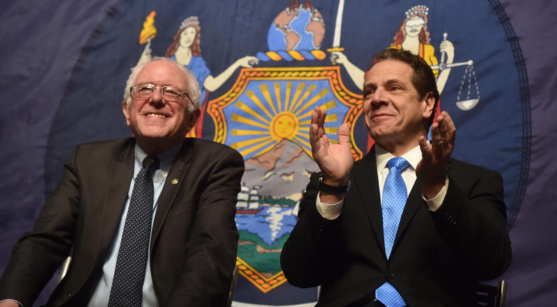 New York Governor Andrew Cuomo with Bernie Sanders.