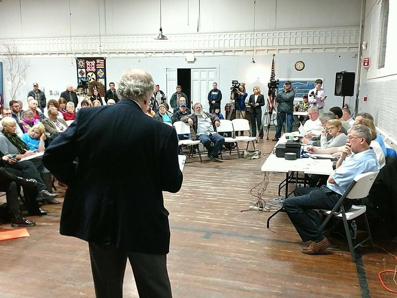 Attorney David Engel speaks to the Hoosick Falls village board in January, 2017