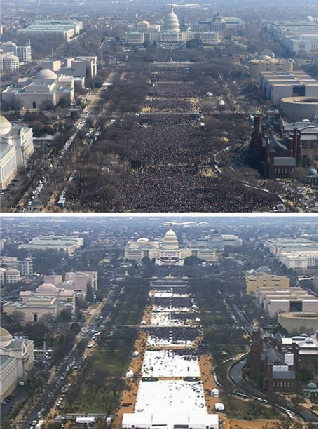 A UMass survey found 14 percent of Trump supporters say more people are in the bottom photo. Why?