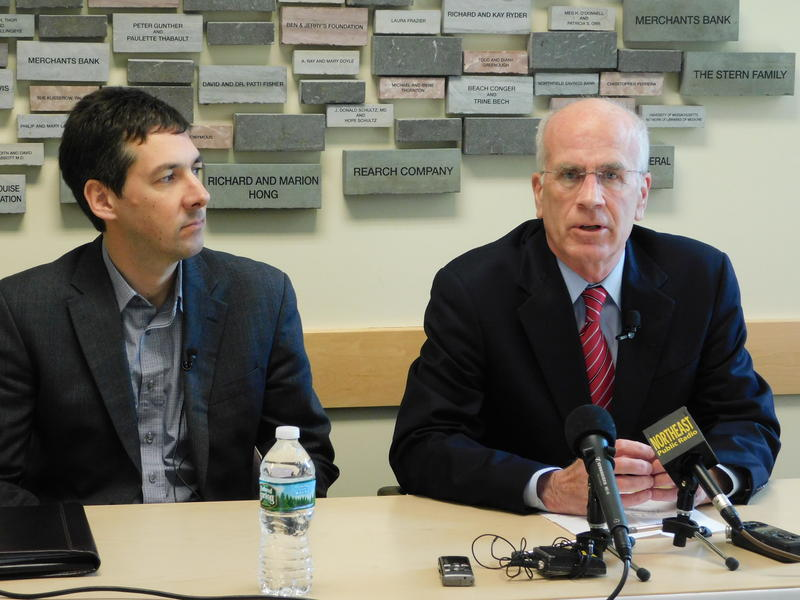 Vermont Congressman Peter Welch (right) discusses presidential executive order on immigration with Vermont ACLU Executive Director James Lyall (left)