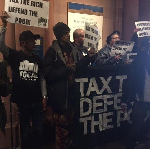 Protesters outside New York Governor Andrew Cuomo's office on January 31