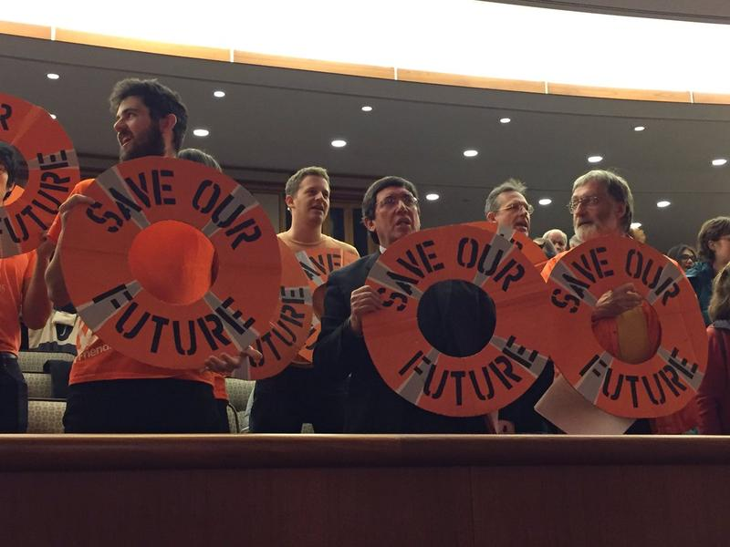 Climate activists disrupt a budget hearing on the environment at the New York state Capitol Monday .