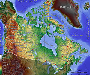 Topographic map of Canada and Northern U.S.