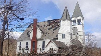 The United Congregational Church sustained heavy damage