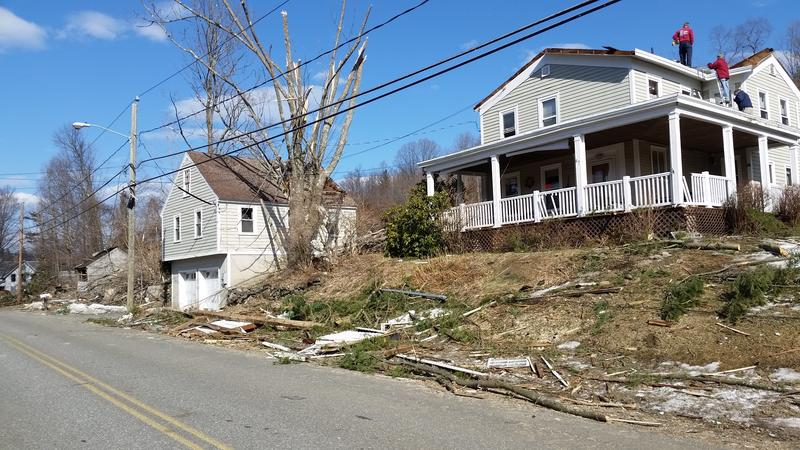 Homeowners assessed damage from the tornado that hit Conway, MA