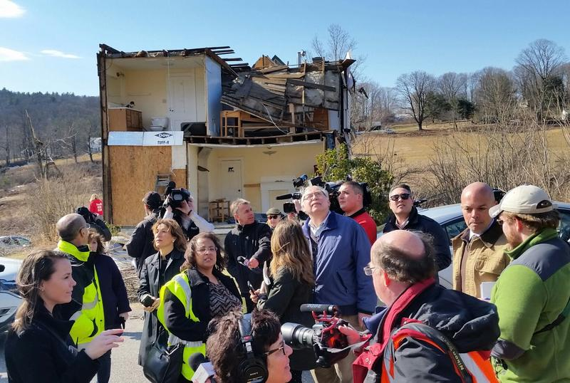 Mass. Lt. Gov. Karyn Polito and other state and local officials survey the tornado damage in Conway