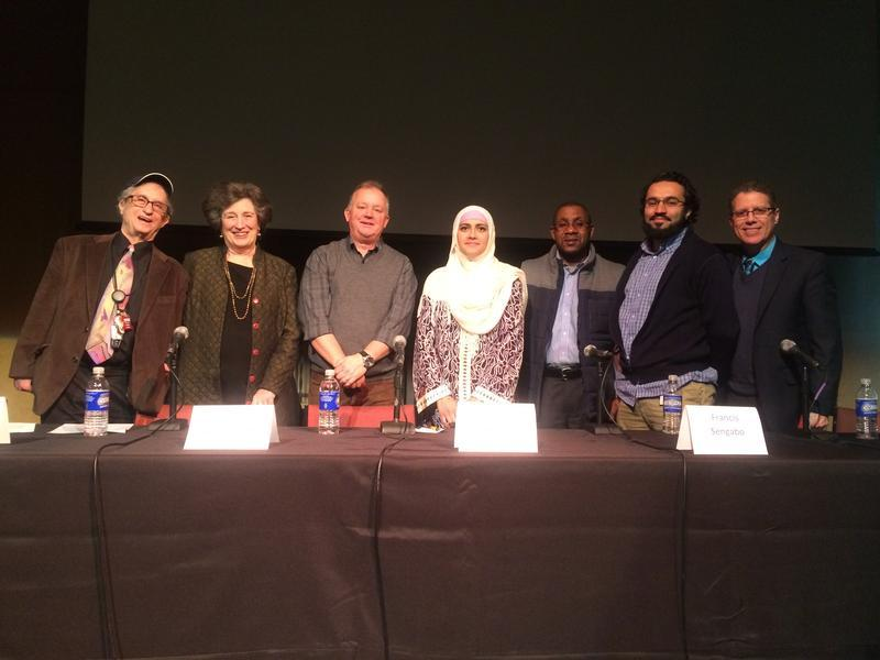 Paul Grondahl, third from left, at UAlbany's City of Immigrants panel.