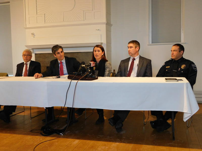 From left:  VT Health Commissioner Dr. Harry Chen, Mayor Miro Weinberger, State's Attorney Sarah George, Dr. Stephen Leffler, Chief Brandon del Pozo