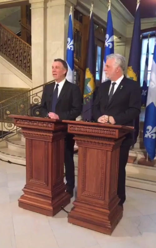 Governor Phil Scott (left) and Quebec Premier Philippe Couillard at a press conference in Quebec City 2/15/17
